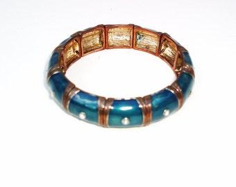 Vintage Metal Link Bracelet | Enamel Bracelet | Turquoise Jewelry | Aquamarine Bracelet | Cuff Bracelet