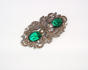 Vintage Green Rhinestone Brooch / Marcasite Pin / Paul Sargent 24KP / Faceted Gemstone Brooch
