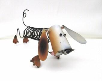 Vintage Record Rack, Weenie Dog, Letter Holder, Dachshund, Metal Dog Sculpture, Mail Sorter