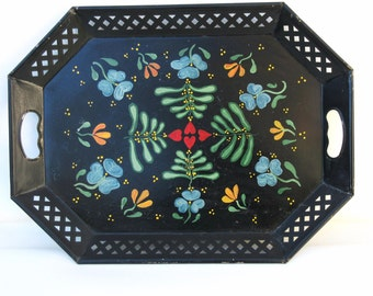 Vintage Toleware Tray | Large Tray |  Metal Platter | Serving Tray | Tole Platter