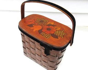 Vintage Box Purse   Wooden Purse   Basket Purse   Wood Tote   Wood Purse   Decoupage  Handbag
