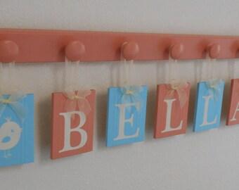 Bird Baby Nursery Decor, Bird Decor, Wooden Birds Designs, Baby Girl Nursery Name Sign Plaques Personalized - Aqua / Coral