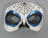 Day of the Dead Blue Spiderweb Leather Mask, Unisex