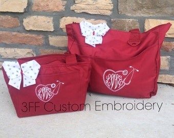 Personalized Monogrammed NURSE/DOCTOR Heart Stethoscope Super Tote and Lunch tote SET