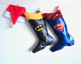 Superman & Batman Christmas stocking:  Comic book superhero-  personalized stocking