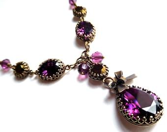 Purple crystal pendant necklace, antiqued brass bezel set rhinestones, purple bronze Austrian crystal, vintage style plum crystal jewelry