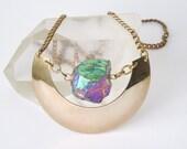 Raw Crystal Necklace- Brass Shield Necklace - Fashion Jewelry - Boho