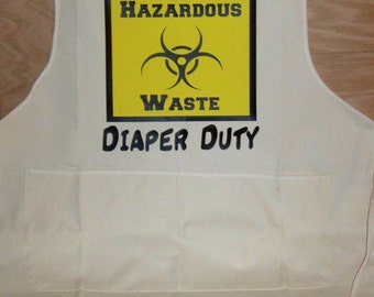 Daddy's Diaper Duty Apron, Hazardous Waste Sign on an Apron, Baby Shower Gift for Dad To Be, Funny Baby Shower Gift, Pregnancy Announcement