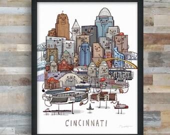 Cincinnati skyline group portrait art print
