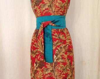 Red Tropical Print Modern Cheongsam Dress