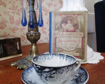 4 piece vignette blue white cup saucer transferware candle stick crystals vintage german story book cottage style shabby cottage decor