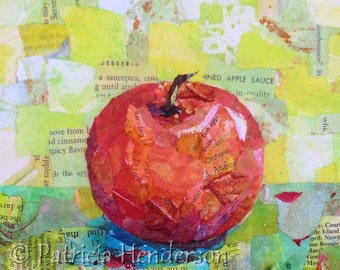 "PINK LADY Original Paper Collage Apple Painting 6 X 6"" on Gallery wrapped canvas"