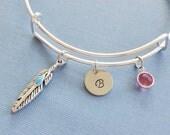Feather Bracelet, Turquoise, Initial Bangle, Silver Bangle,Personalized,Expandable,Charm Bracelet,Birthstone Bracelet,BFF Friend,Birthday