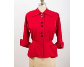 HANNAH TROY / 1950s blazer / Vintage cherry red wool fitted jacket / Petite M