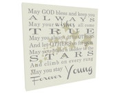Christian Quote Inspirational Quote May God Bless You... Forever Young on Wood or Canvas, John 13:7 Sign, Vintage Sign