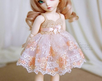Peach dress for TINY bjd LittleFee