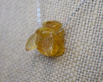 Hand-Carved Amber Bee Necklace - Pendant, Gift, Jewelry, Honey, Hive, Amber, Golden, Insect,sterling silver necklace, silver bee