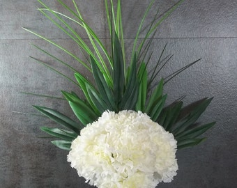 Memorial Flower Arrangement for Grave Decoration White Carnation Cemetery Decoration Memorial Day Tombstone Flowers Handmade Decoration