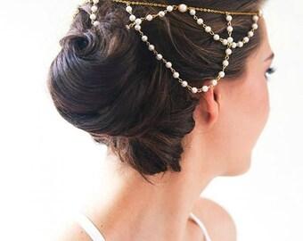 Bridal Headpiece Wedding Headpiece Hair Jewelry Head Jewelry Pearl Chain Headpiece Boho Wedding Headpiece Head Chain - Pearl Luster  Gold