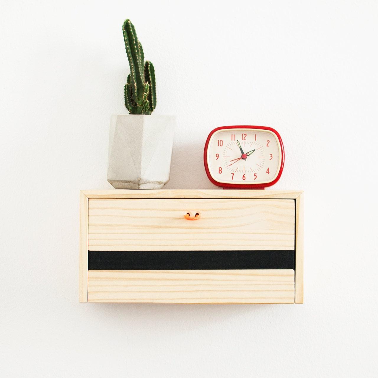 Minimal wall shelf Floating wood nightstand Modern