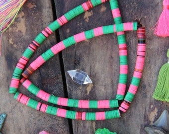 Watermelon Colorblock, Pink & Green Vintage African Vinyl Record Disc Beads 8mm, Tribal Craft Supply, Fall Fashion, Jewelry Making Heishi