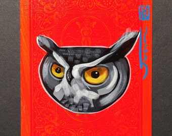 Great horned owl Illustration portrait on a playing cards. Original acrylic painting. 2013