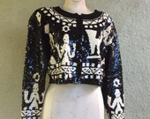 Adrienne Vittadini Sequin Jacket with Figures - Aztec Style with Glamor