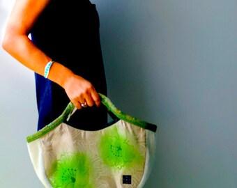 """Kimono Obi  Hobo Style Tote """"Summer Green"""" (S) / Small size tote / mom bag"""