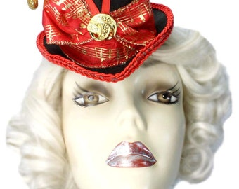 Red Gold Mini Top Hat Musical Fascinator Victorian Steampunk Party Fascinator Cocktail