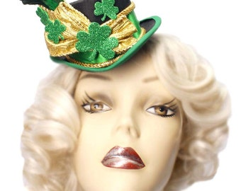 St Patricks Day Mini Top Hat Fascinator Lucky Shamrock Leprechaun Steampunk Green Gold
