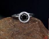 Black Spinel & Diamond Round Halo Engagement Ring Round 1ct 6mm 14k 18k White Yellow Rose Gold-Platinum-Custom-Wedding-Plain Shank