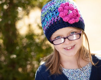 Unique Handmade Gifts - Crochet Hat with Flower - Girl's Hat - Girl's Winter Hat - Hand Crocheted Items