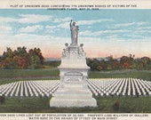 Plot of Unknown Dead- 1920s Antique Postcard- Johnstown Flood- May 31, 1889- Memorial Monument- Cemetery- Natural Disaster- Paper Ephemera