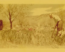 Plot Keeper- 1950s Vintage Photograph- Cemetery Photo- Graveyard Garden- Memorial Flowers- Headstones- Kodacolor- Paper Ephemera