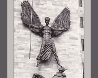 St. Michael and The Devil- 1960s Vintage Photograph- Coventry Cathedral- Sir Jacob Epstein- RPPC- Real Photo Postcard- Paper Ephemera