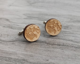 HOLIDAY SALE Wood Cuff Links, Silver Moon Cuff Links, Laser Engraved Wooden Moon Cuff Links For Him For Her