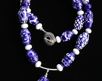 Cobalt White Glass Lampworking Beaded Necklace