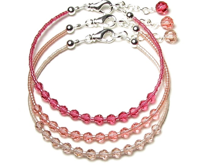 Pink Peach Rose Stackable Bracelets, Dainty Adjustable Silver Bracelet Set, Swarovski Crystal, Gift Boxed Jewelry, Simple, Delicate Feminine