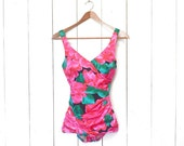 Floral One Piece Swimsuit 70s 80s Pink Green Floral Print Boy Short Bottom Bathing Suit Small B Cup