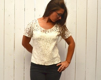Sheer Lace Blouse 90s Vintage Cream White Short Sleeve Top