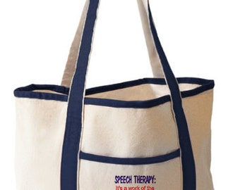 Embroidered Tote Bag - Speech Therapy