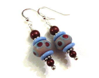 Blue & Red Lampwork Earrings With Red Swarovski Pearls, Blue Lampwork Earrings, Lampwork Jewelry, Blue Earrings, Red Pearl Earrings