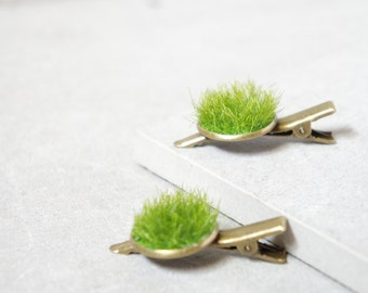 Moss Hair Clip - Brass Hair Clips - Green Grass Hair Clip - Green Hair Clip Set - Mother Nature Hair Clip - Travel Hair Clip - Forest Hair