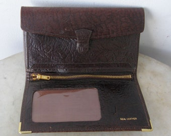 ENGLISH LEATHER WALLET Billfold Textured Burgundy Leather Brass Tipped Corners 10 Separate Compartments Unused Vintage English 1960-1980's