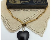 Black Heart Necklace Vintage Trifari Necklace With Stone Heart Necklace