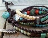 Chunky Bohemian Wrap Bracelet, Three Wraps, Charm, Beachy