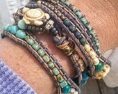 Chunky Bohemian Wrap Bracelet, Quapruple Wrap, Turtle Bead, Beachy