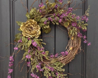 Spring Summer Fall Wreath Green Berry Twig Grapevine Door Wreath Decor Use Year Round Wispy Branches Woodsy Indoor Outdoor Decor-Purple