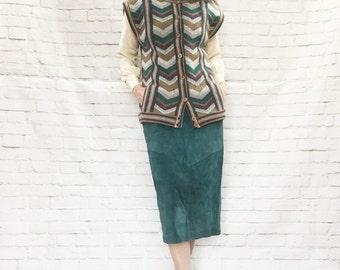 Vintage 70s Chevron Striped Knit Long Sweater Vest Teal Brown Buttons Muffler Pockets M L