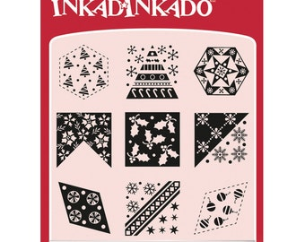 Inkadinkado Clear Stamp Set with Stamping Block - Inchies - Christmas Quilt